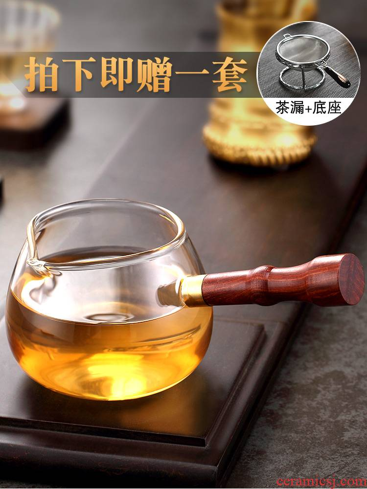 Morning high thickening side of real wood the tea ware kung fu tea set reasonable heat resistant high temperature glass cup tea suits for sea)