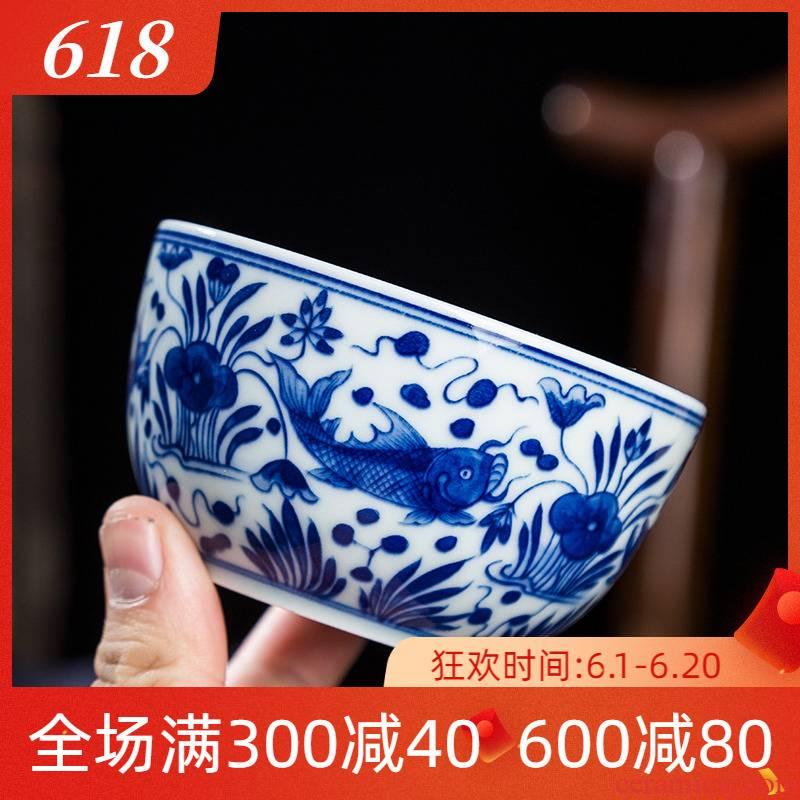 Folk artists hand - made fish algae grain kung fu master of blue and white porcelain cup single CPU jingdezhen ceramic large tea cups
