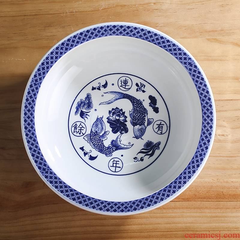 Old household ceramics and the basin that wash a face large kitchen thickening of jingdezhen ceramics basin basin that wash a face massage basin xiancai basins