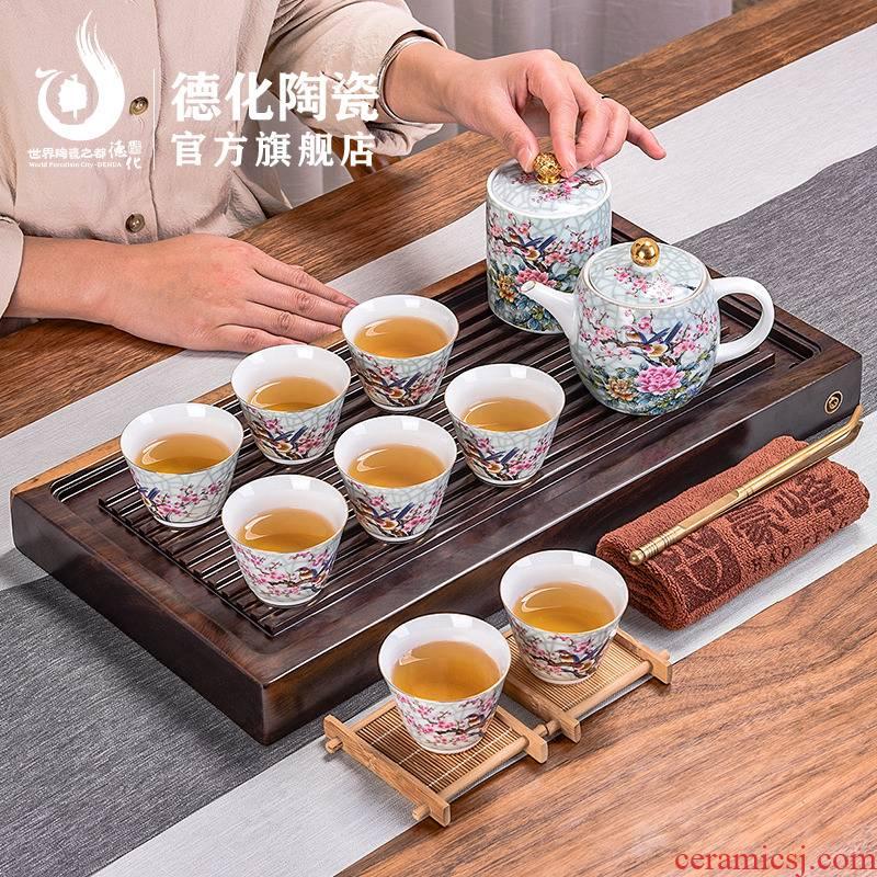 Ebony wood tea tray tea set suit household small purple sand teapot teacup contracted kung fu tea saucer
