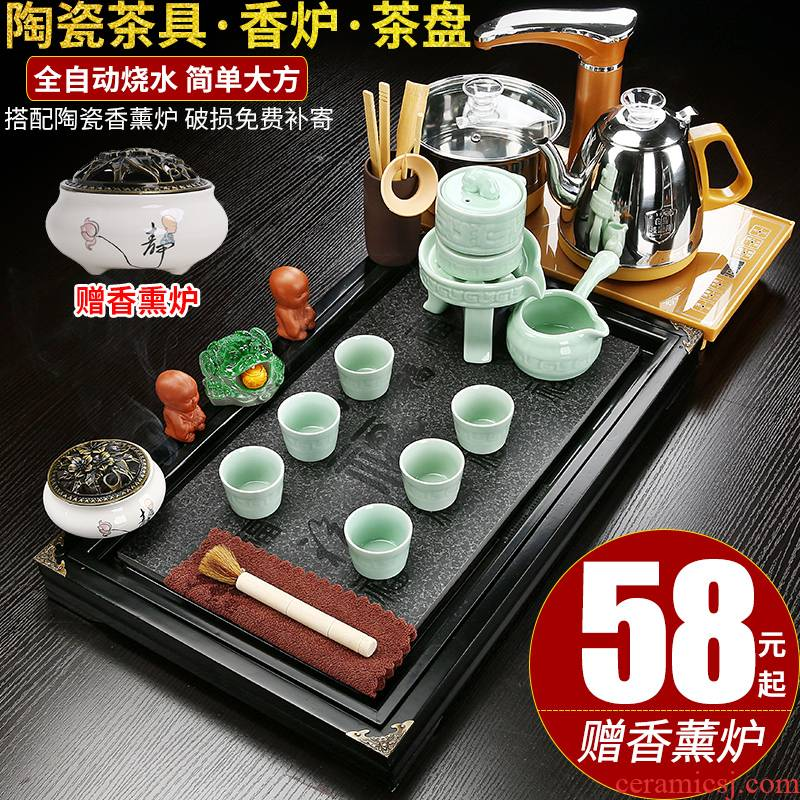 Kung fu tea set suit household contracted tea tray was a visitor to office sitting room of a complete set of automatic tea kettle