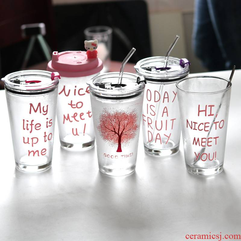 Color glass web celebrity creative han edition female students express it in transparent glass juice cup of large capacity milk tea