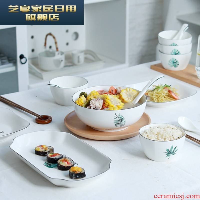 1 hj dishes suit household 4/6 people eat rice bowl dish combination Nordic jingdezhen ceramics creative contracted ipads China
