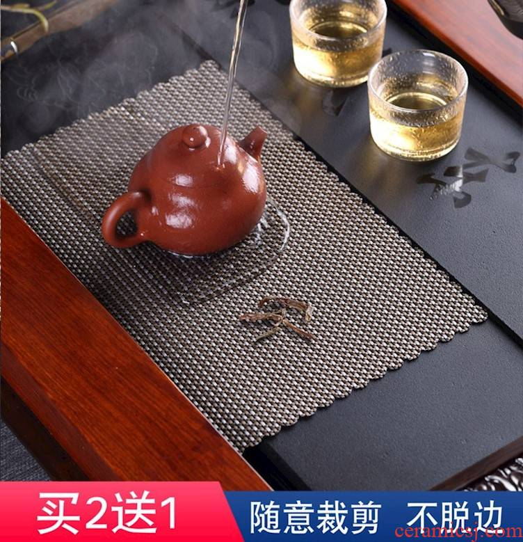 Tea set large Tea slag cotton and linen cloth every square bamboo mat bamboo Tea zen Chinese style suit Tea cloth filter cloth