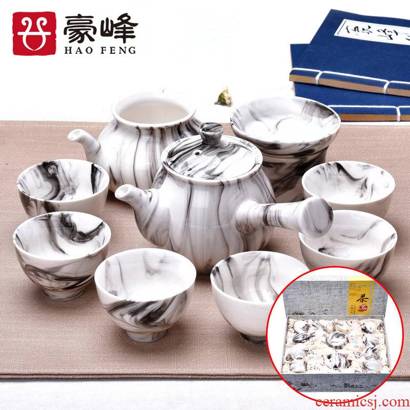 HaoFeng a complete set of ceramic tea set domestic large teapot teacup Japanese kung fu tea sea creative gift boxes