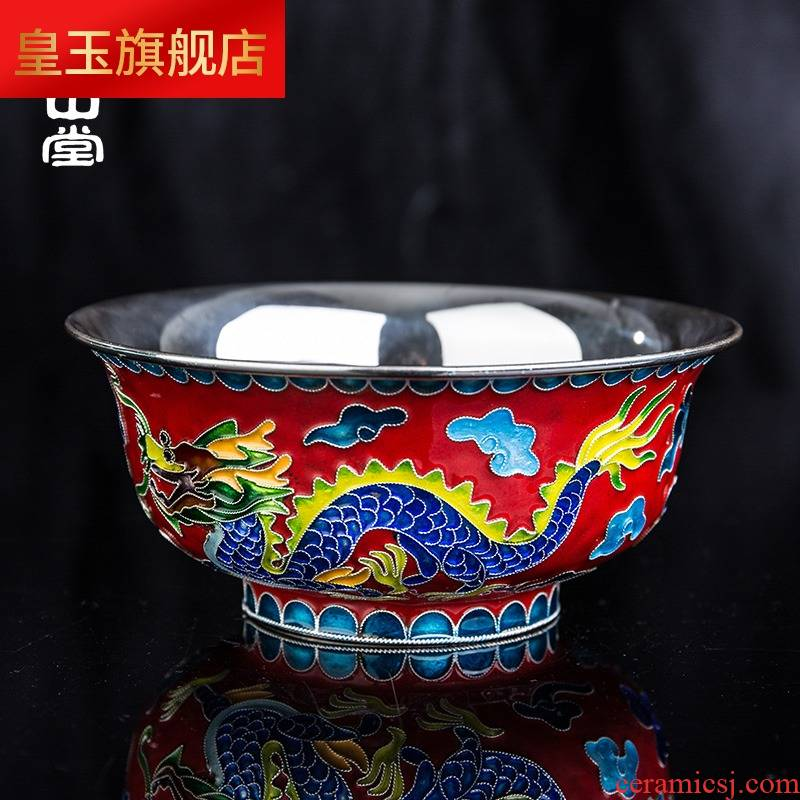 5 RST use silver wire inlay enamel manual large bowl Chinese rice bowl bowl wedding gift
