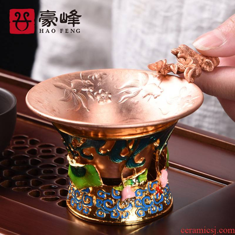 HaoFeng copper copper) filter tea accessories checking a good kung fu tea sets with the base of the household
