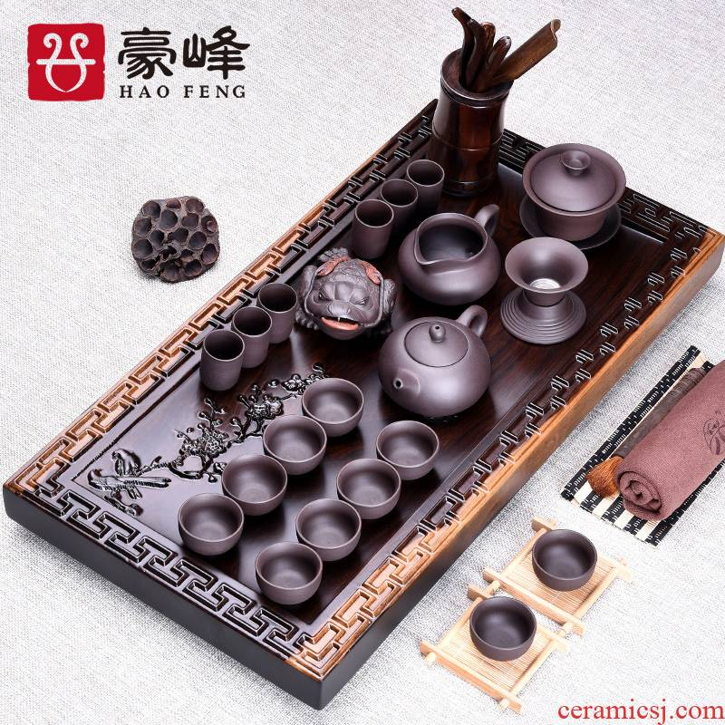 HaoFeng whole piece of ebony its solid wood tea tray tea sets of purple sand from the sea kung fu tea set