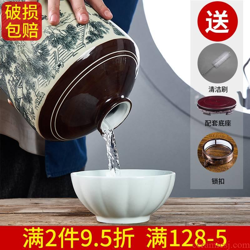 Jingdezhen ceramic wine wine jar cylinder 1/3/5/10 jins antique bottles household sealed jar of wine