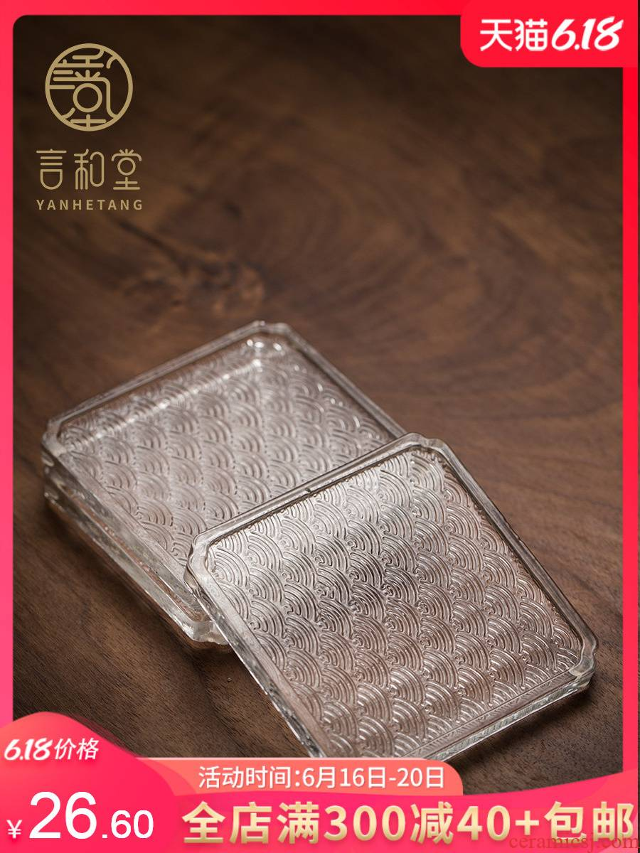 And hall glass cup mat transparent cup supporting Japanese insulation pad kung fu tea set small saucer tea accessories