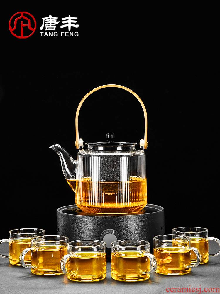Tang Feng nonporous filter glass boiled tea set transparent small electric kettle household electric teapot ceramic furnace Z
