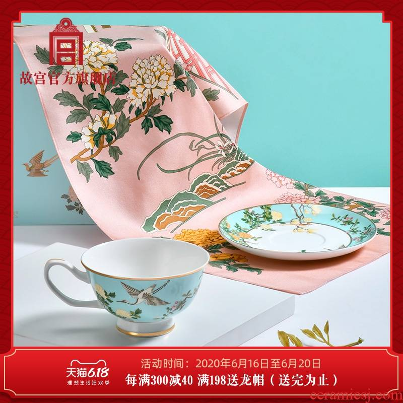 The palace LanTang prosperous silk tea cup dish scarf gift set The national palace Museum official flagship store
