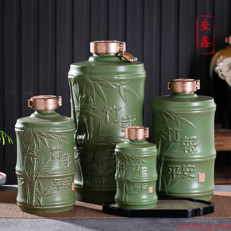 Bottle is empty bottles of jingdezhen ceramic household means safe sealing 1/3/5/10 jins to bamboo flagon wine jar