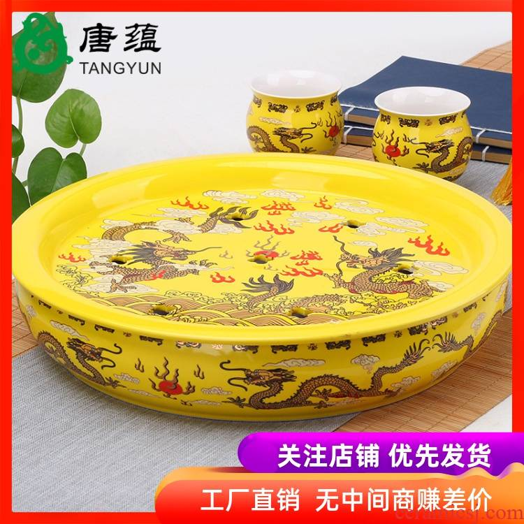 Ceramic round tea tea tray tray was double blue and white porcelain kung fu tea tea tray storage double saucer package mail