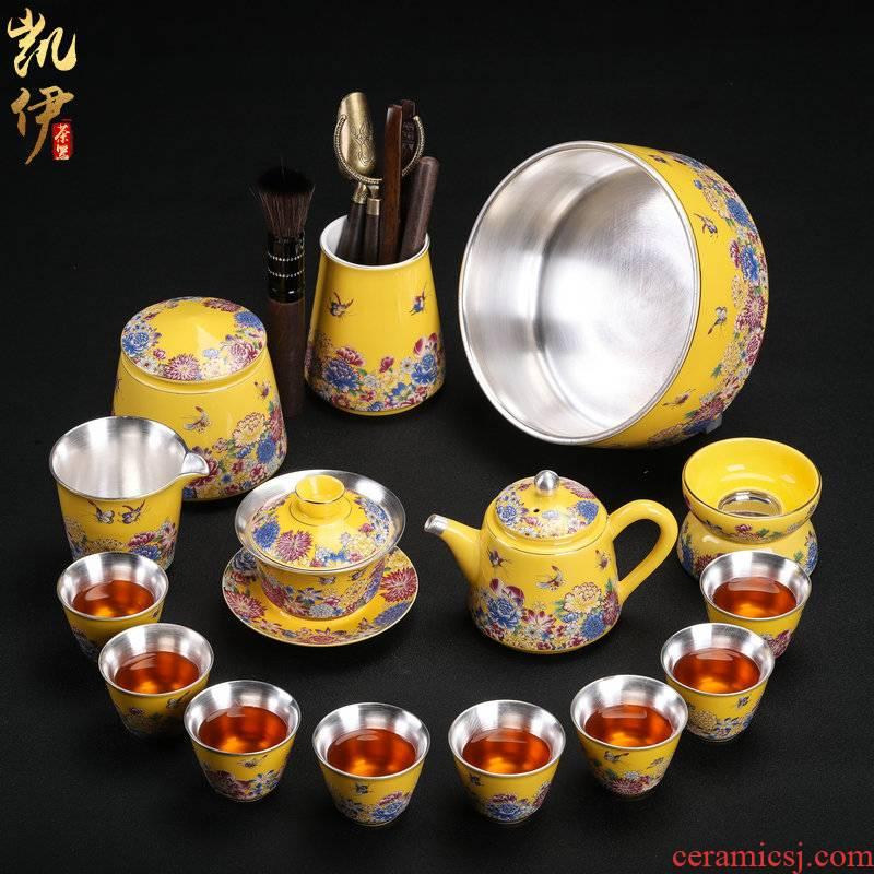 Tasted silver gilding kung fu tea sets jingdezhen ceramic tea set household teapot silver tureen gifts office tea cups