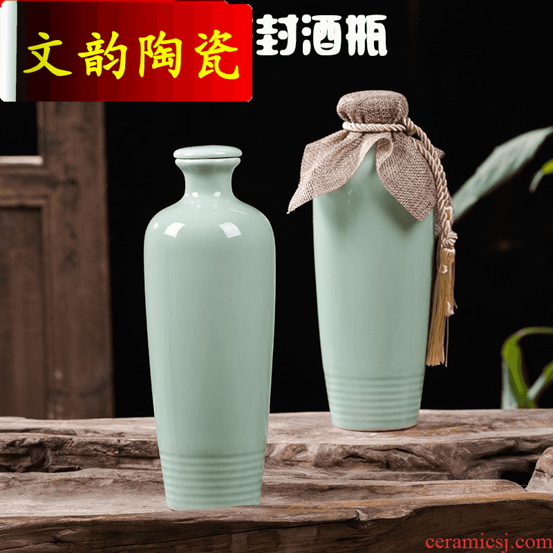 Wen rhyme jingdezhen ceramic bottle is empty bottles of 1 kg pack household liquor sealing hip flask creative wine jars