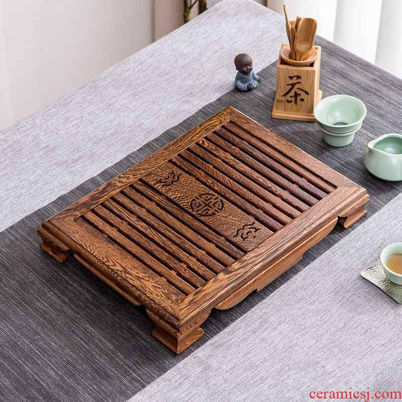 Household contracted solid wood sitting room ground chicken wings wood hua limu tea table drawer tea sea large - sized kung fu tea set