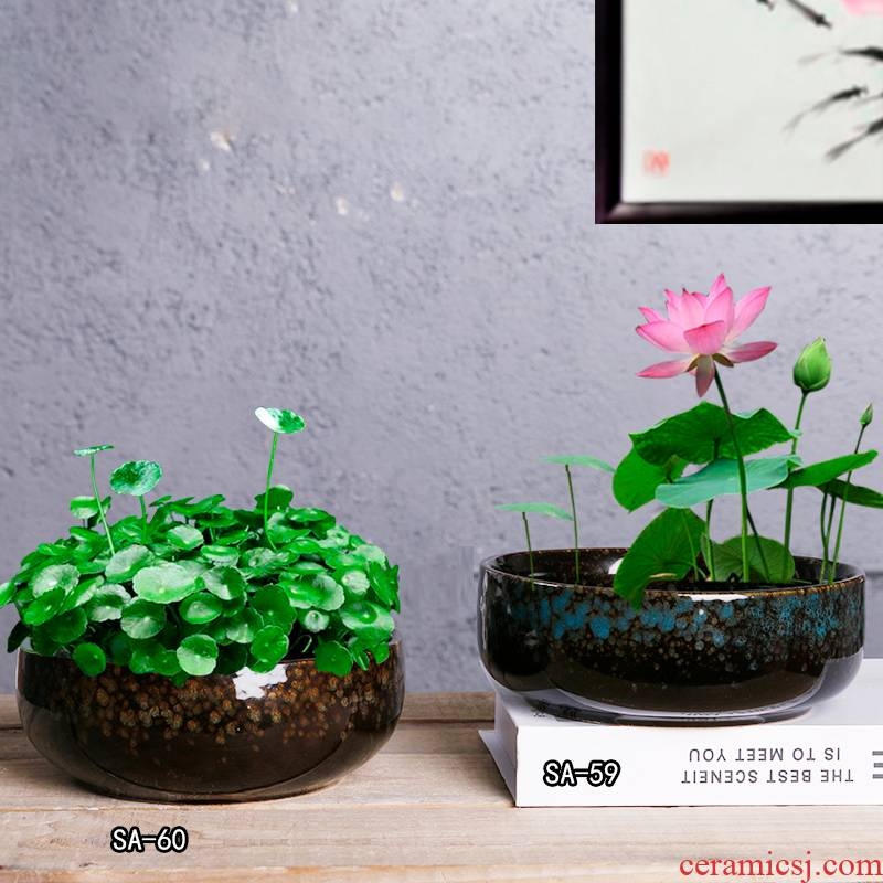 Ceramic flower pot hole clearance without hydroponic container copper bowl lotus basin'm grass refers to flower pot lotus basin of Chinese style flower implement