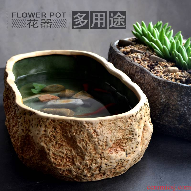 Old small desktop creative micro landscape ecological landscape stone square ceramic basin of water lily imitation stone, fish tank sitting room