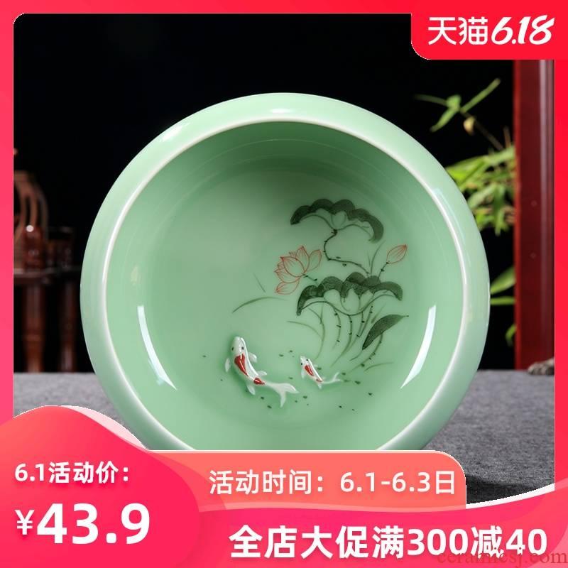 Kung fu tea set longquan celadon ceramics basin for wash cup tea wash bowl of tea large vessels XiCha big writing brush washer water jar