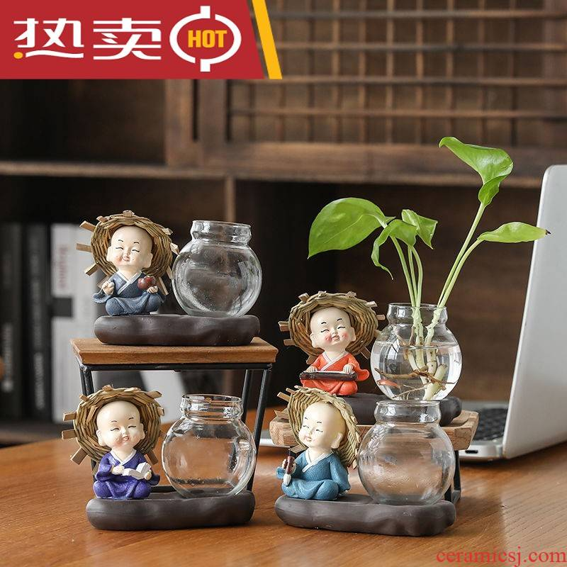 Ceramic hydroponic containers creative furnishing articles monk glass flower pot other special tea flowers in the vase