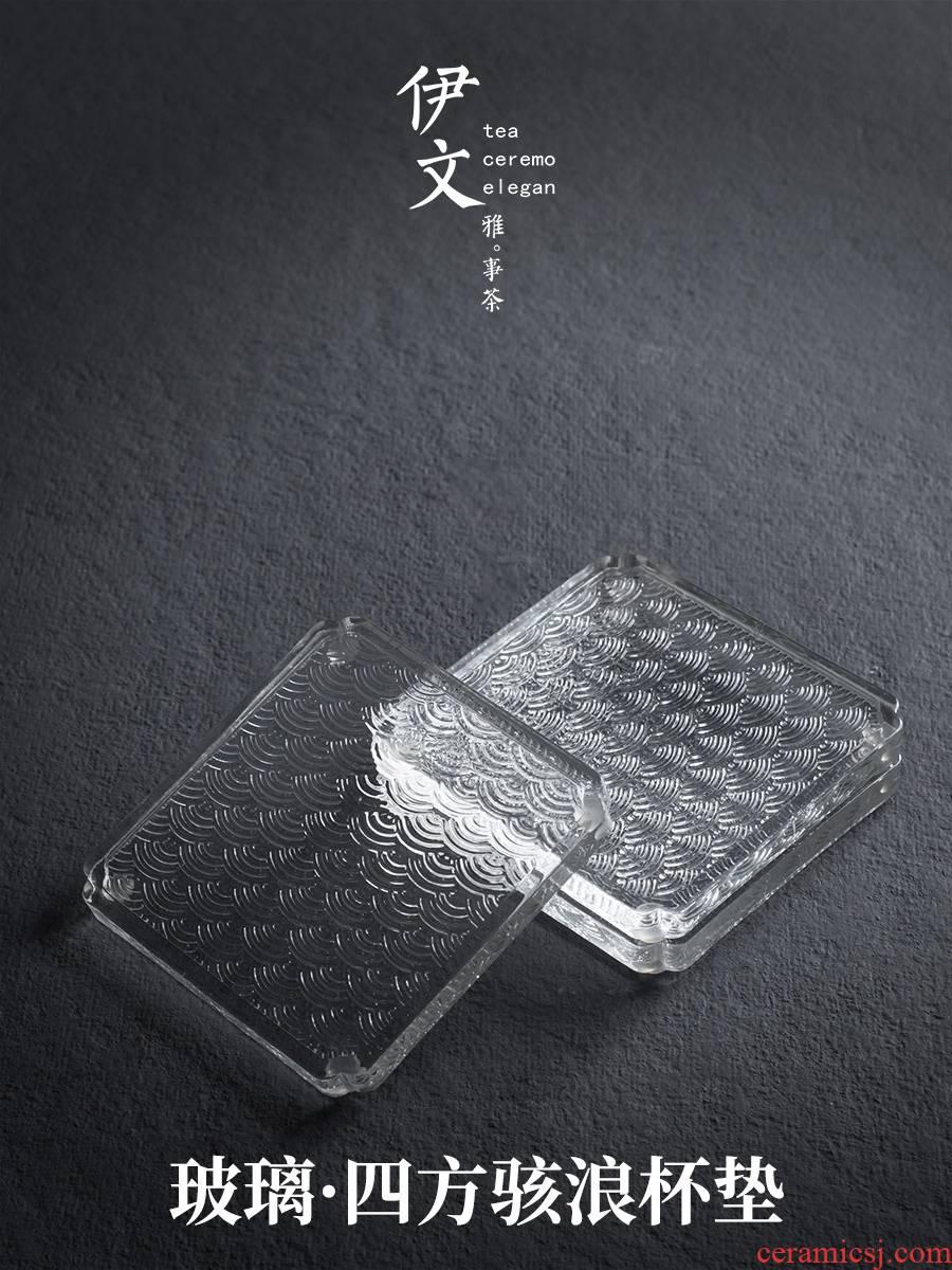 Evan ceramic glass mat a saucer at Japanese transparent insulation pad kung fu tea accessories creative tea saucer