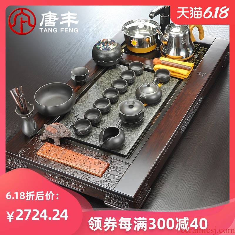 Tang Feng ebony stone incense buner sharply kung fu tea tray ceramic tea set z suit office home four unity of electric furnace