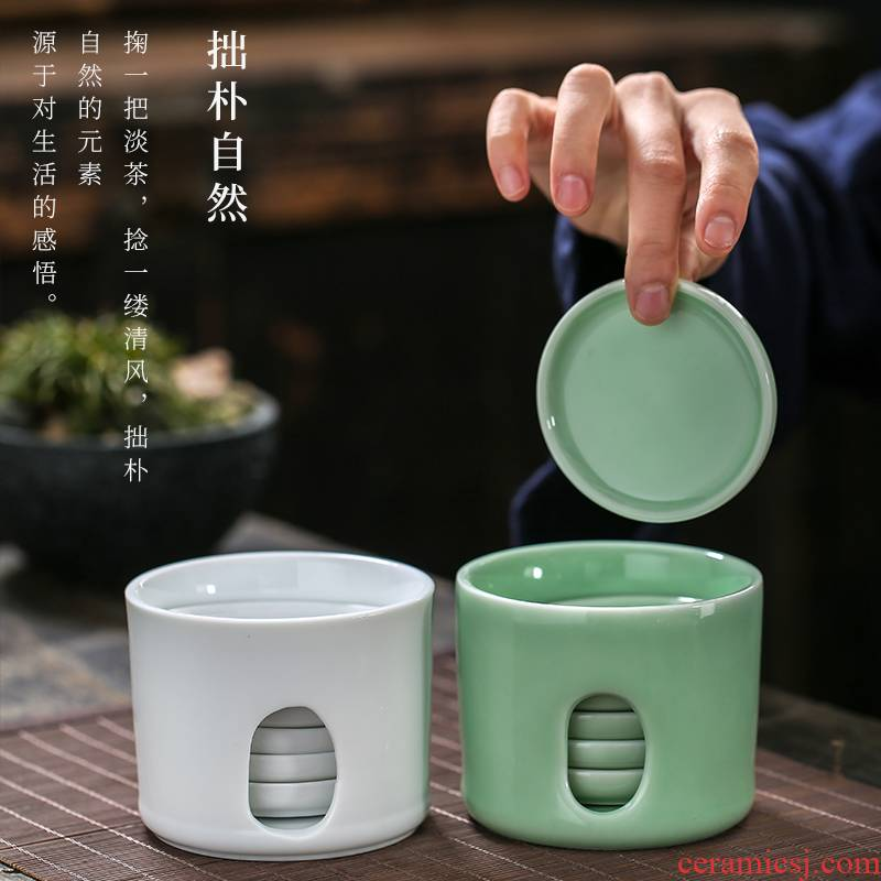 Joker 6 tablets celadon set of kung fu tea cup pad round tea saucer heat - resistant ceramic tea set tea accessories