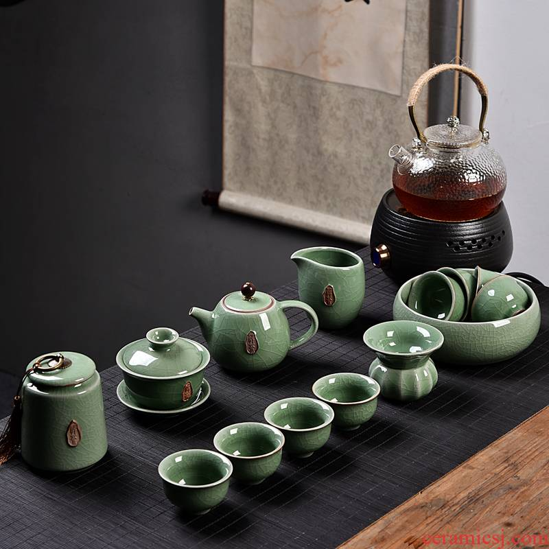 Tea taking can raise can start into the Monkey King up porcelain teapot kung fu Tea set a complete set of Tea cups
