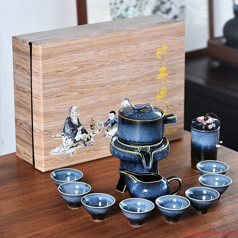 Up built light tea sets tea kettle household rotating water prevent hot stone mill lazy people make tea, semi - automatic
