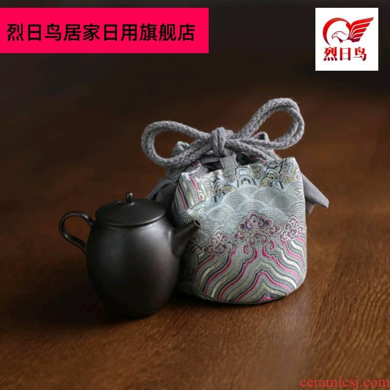 Brocade silk caddy fixings teapot tea cups to receive bag bag bag wave grain cloth