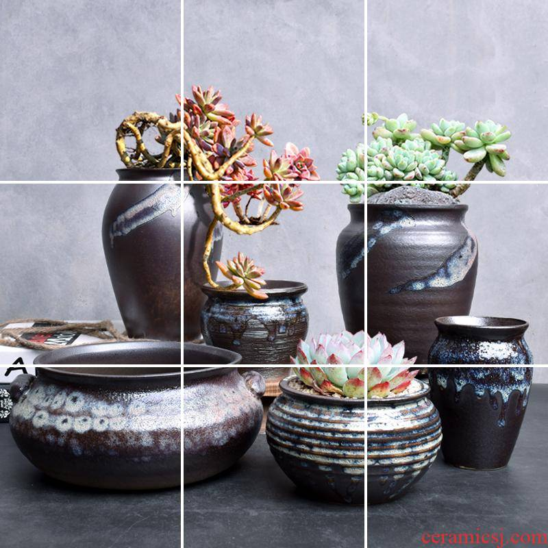 Fleshy flower pot basin contracted large ceramic creative old running the green plant coarse some ceramic pot the plants breathable composite basin restoring ancient ways