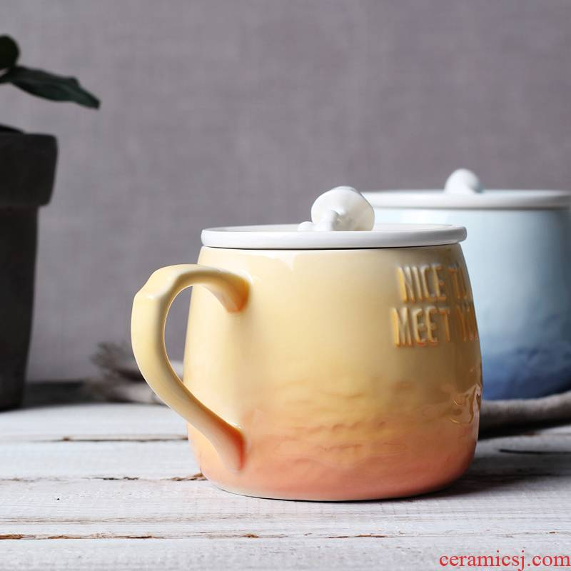 Creative ceramic cups with cover mark office coffee cup move couples cup breakfast cup to the voice of the sea gradient