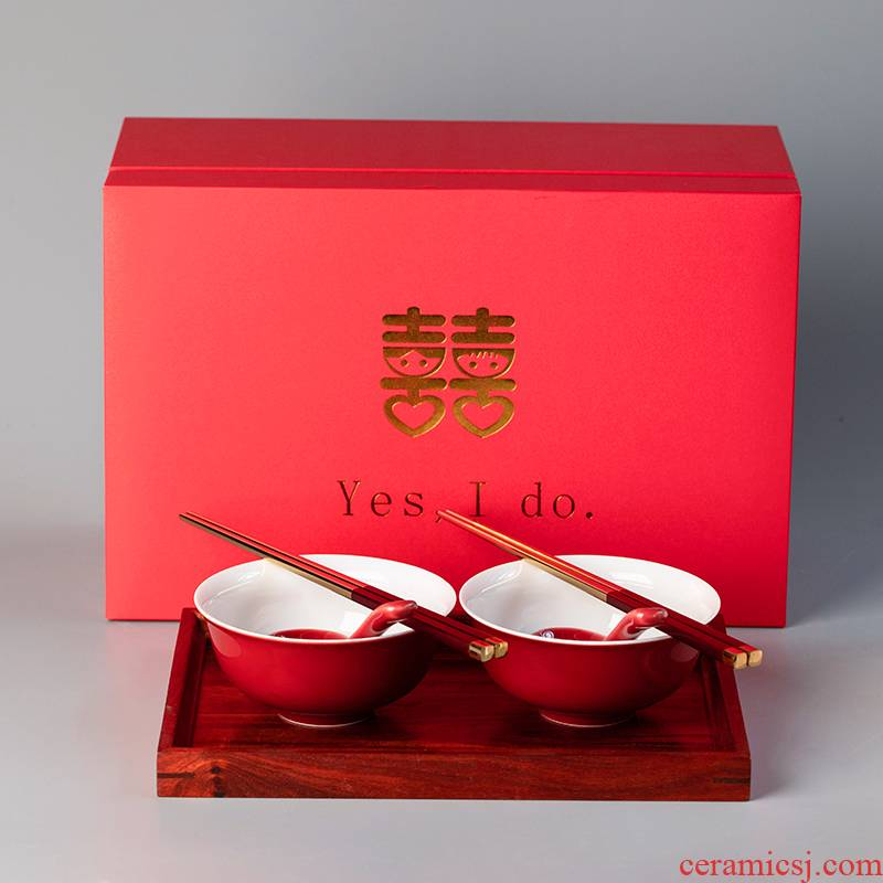I swim ceramic xi bowl of red suit box of bowl chopsticks its ehrs wedding picking wedding