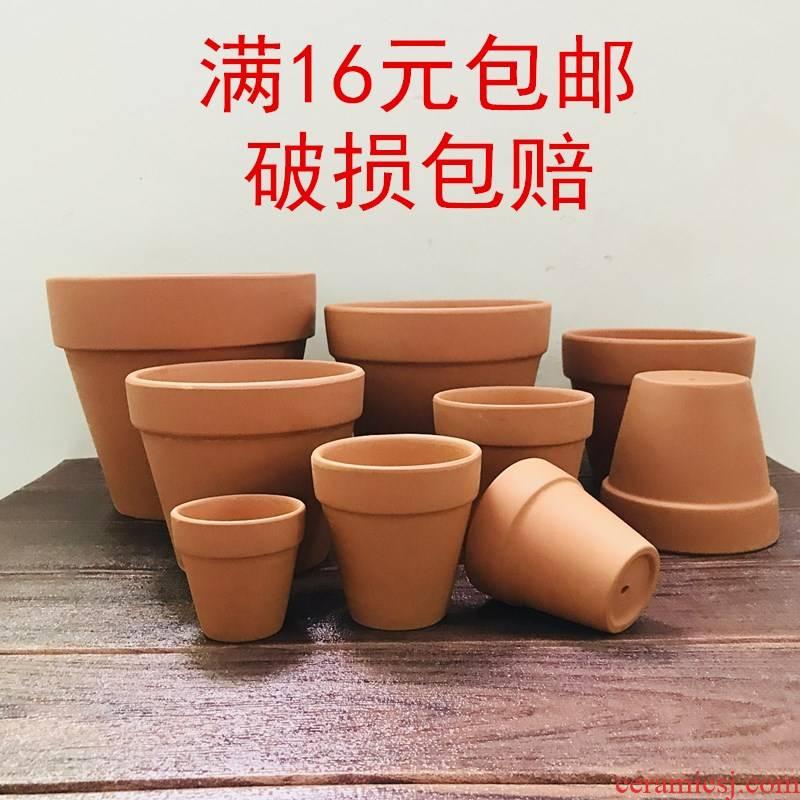 Heavy mud made of baked clay permeability pot old clay mud made of baked clay flowerpots old breathable retro pottery flowerpot