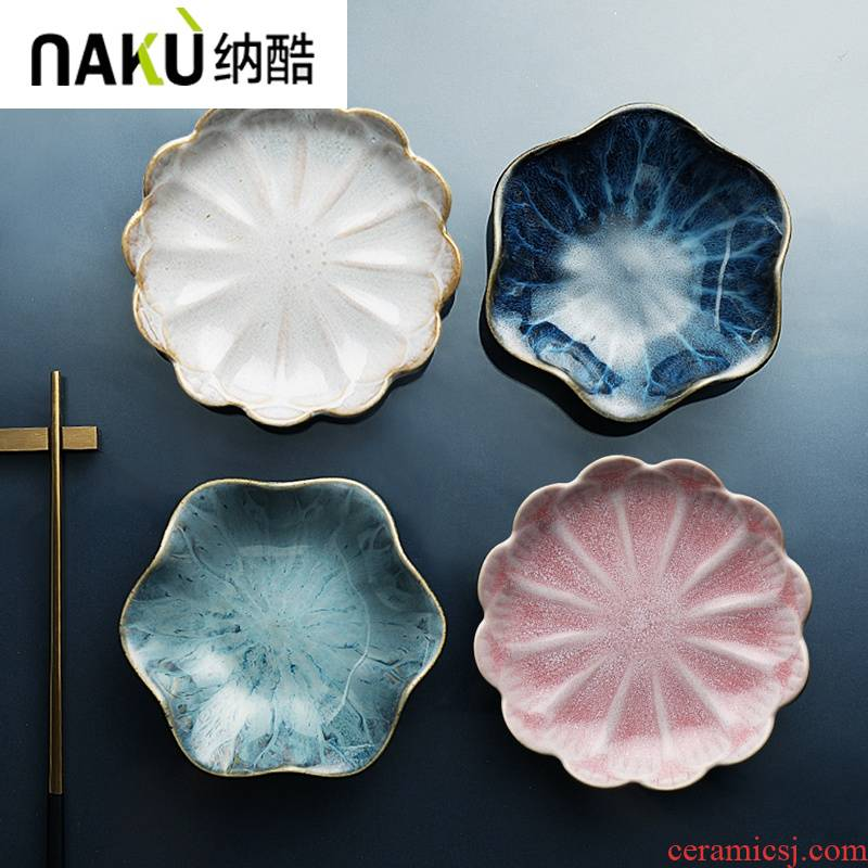Ceramic dishes, cool petals disc hotpot dip vinegar dish of Japanese mustard flavor dish of irregular small dishes