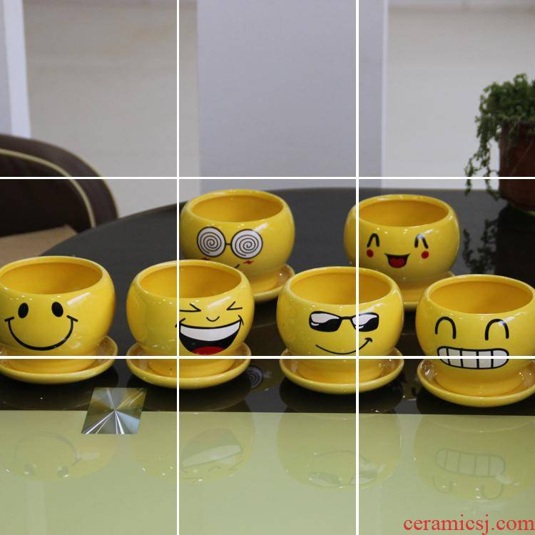 Express cartoon smiling face ceramic pot move characteristics, fleshy the plants flower pot mini flower pot in the mail
