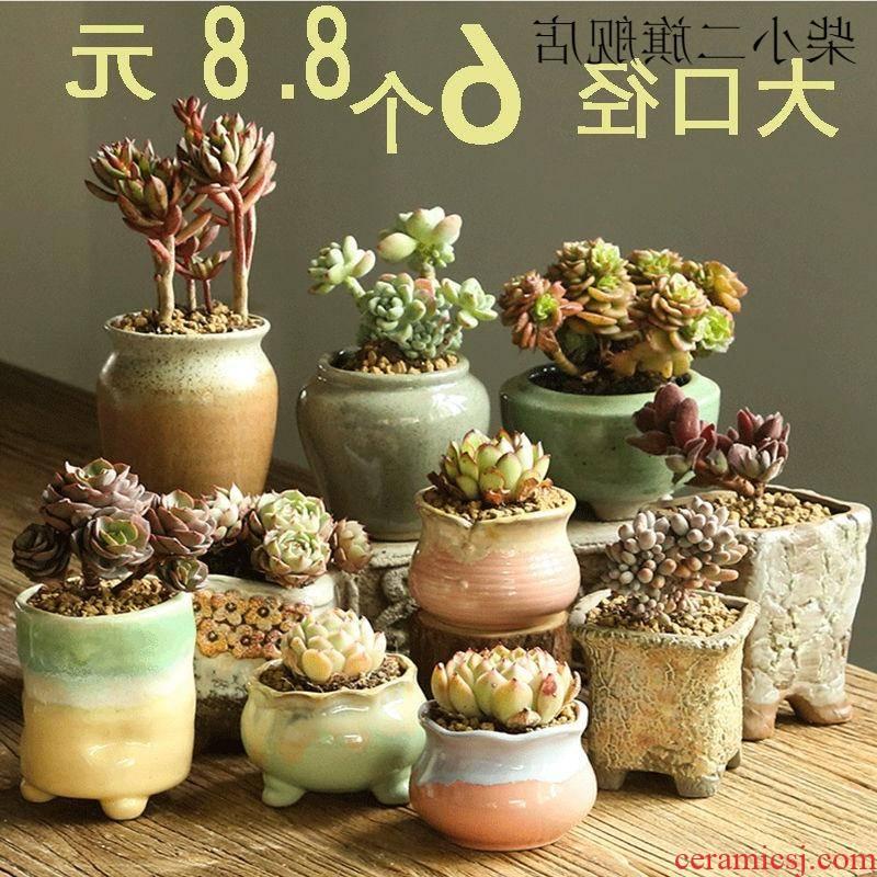 More coarse pottery flowerpot ceramics indoor More meat meat meat ceramic flower pot plant size diameter old from running