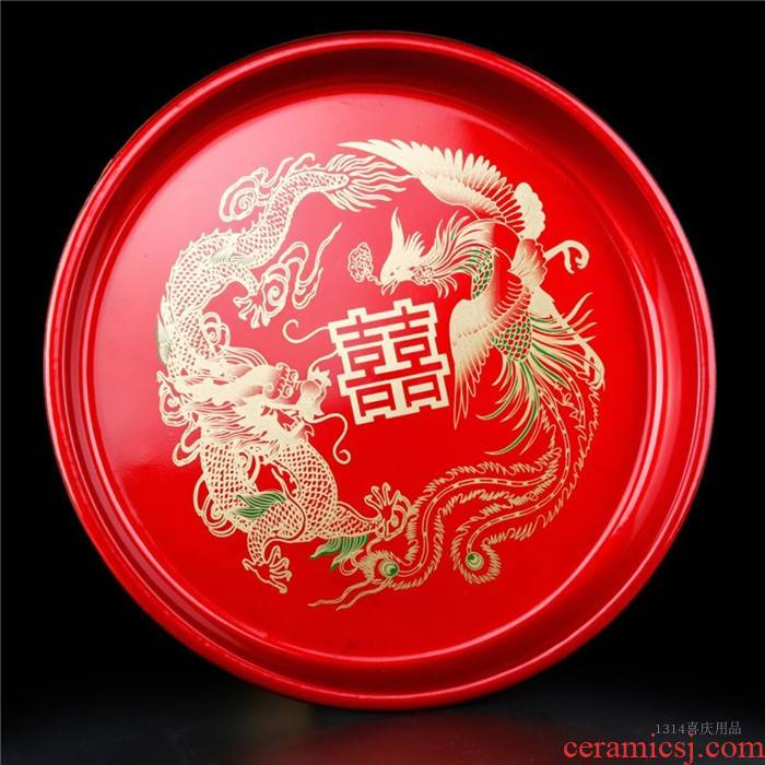 God of wedding bridal tea wedding festival Jin Longfeng tea tray candy dish of fruit tray