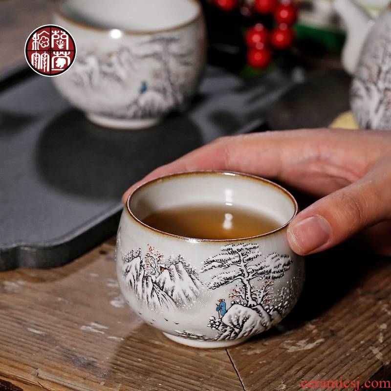 By patterns kung fu tea cup master cup move large pure manual hand - made jingdezhen your up with a cup of tea