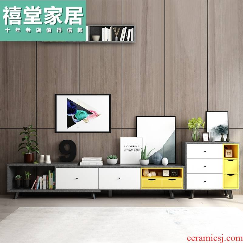 TV ark combination suit I and contracted small family sitting room tea table mini Nordic scalable TV ark, tea table
