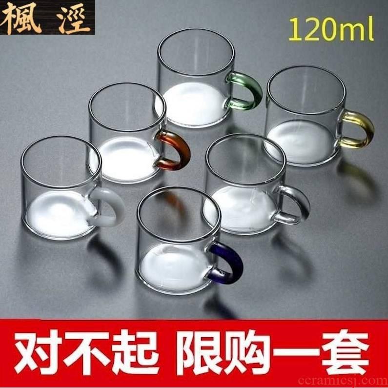 """Flower tea glass domestic high temperature resistant kung fu tea tea cup small transparent double """"bringing liquor cup upset"""