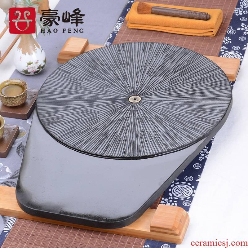 HaoFeng sharply stone tea tray tea saucer tea table suit, black stone, stone, stone tea tray