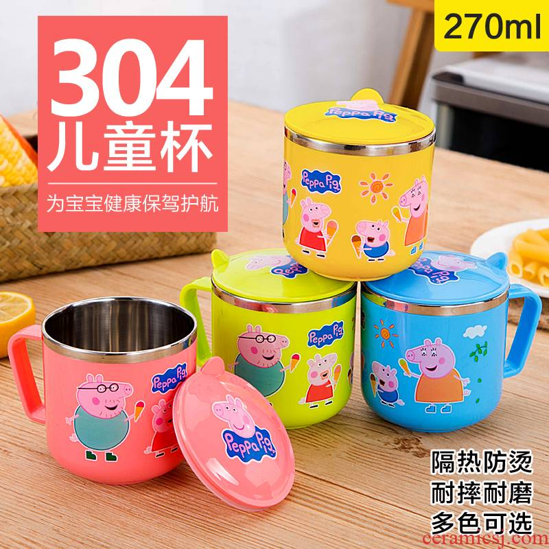 304 stainless steel keller cup brush kindergarten drop hot tea urn double water cup elementary school children with cover