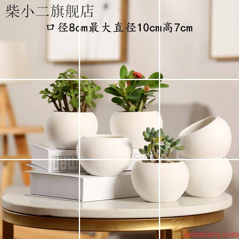 Heavy flowerpot ceramics high fleshy flowerpot creative contracted character small square white balcony more pure and fresh meat basin