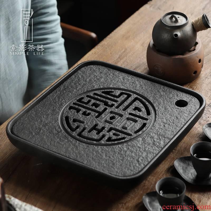 Plain film sharply stone tea tray household water dry tea sets of kung fu tea tea set stone sea square contracted