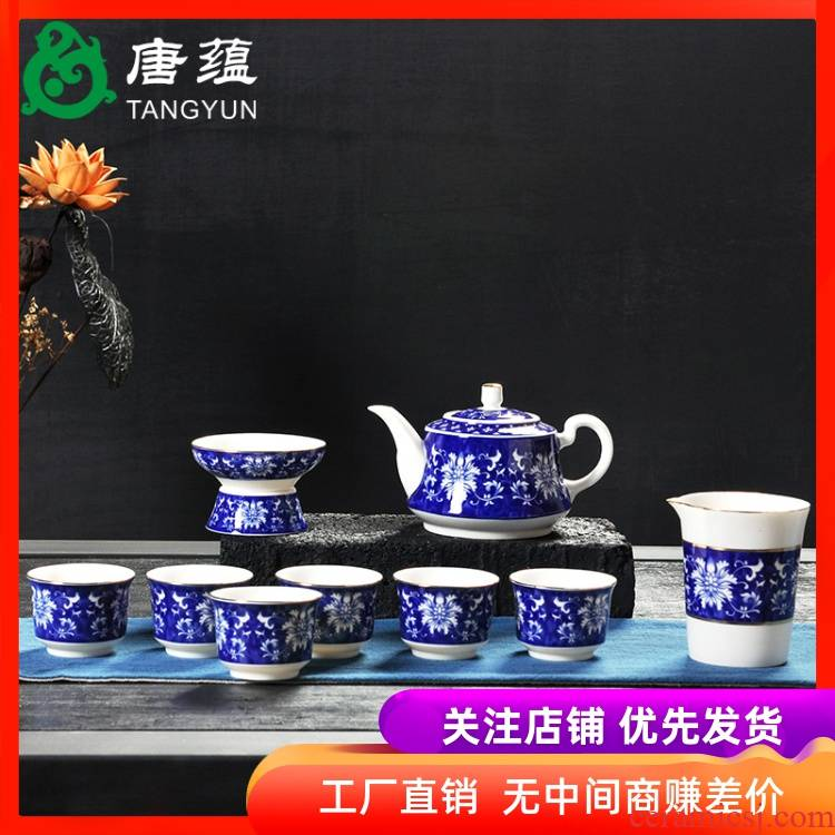 A complete set of blue and white tea set suits for large kung fu tea set of blue and white porcelain ceramic tureen household gift of tea cups