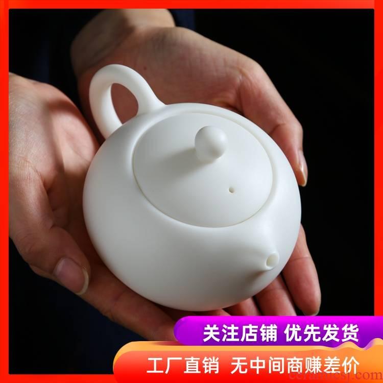 Biscuit firing undressed ore suet jade ceramic teapot jade fat xi shi pot of kung fu tea set collection of pure manual single pot gift box