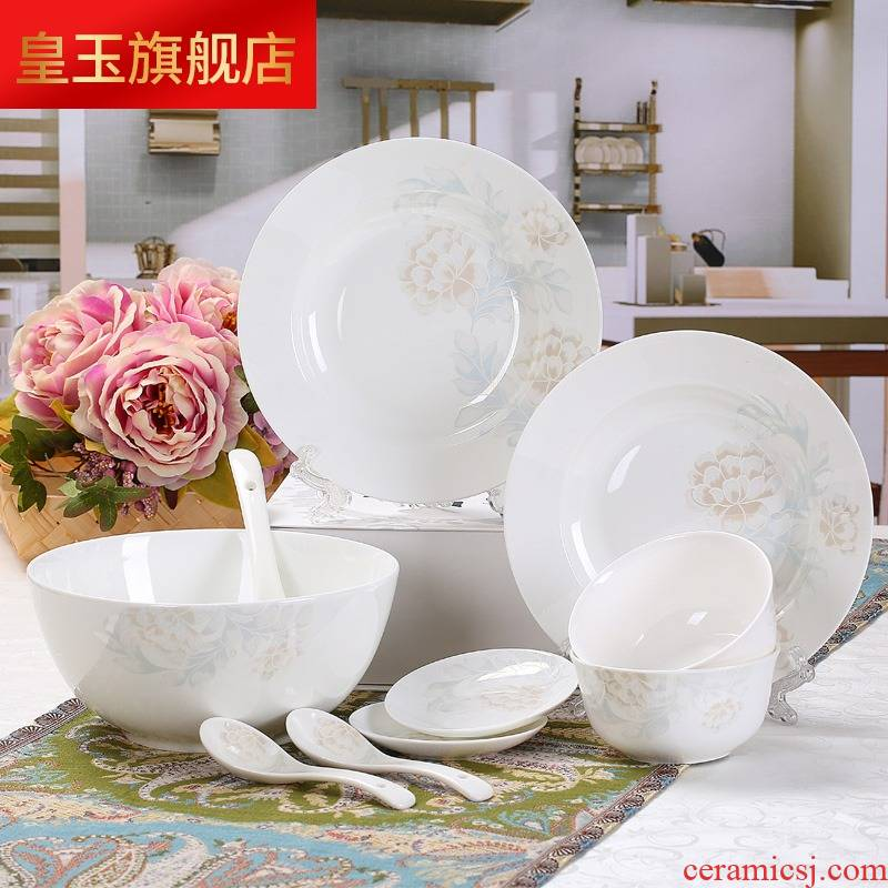 5 hj jingdezhen ceramic dishes suit household of 4 2 ipads China tableware chopsticks combination contracted to eat bread and butter
