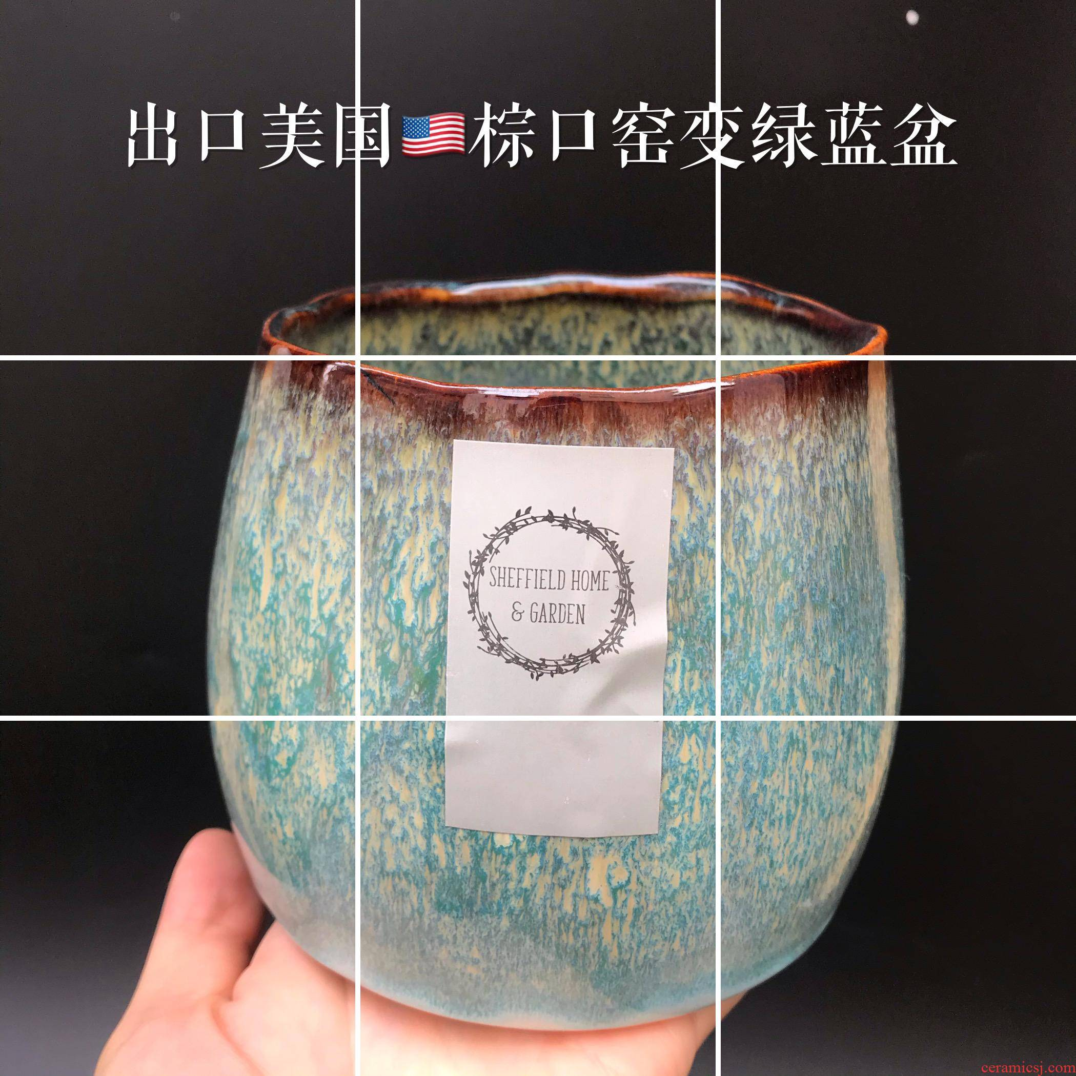 Little Chinese rose potted beautiful photo ceramic plant export variable brown expressions using cyanine flowerpot indoor flower pot
